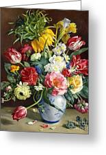 Flowers In A Blue And White Vase Greeting Card by R Klausner