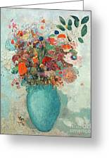 Flowers In A Turquoise Vase Greeting Card by Odilon Redon