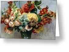 Flowers in a Vase Greeting Card by Pierre-Auguste Renoir