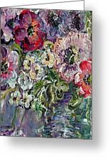 Flowers In An Antique Blue Vase Greeting Card by Eloise Schneider