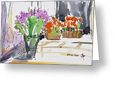 Flowers In Pots Greeting Card by Becky Kim