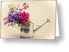 Flowers In Watering Can Greeting Card by Edward Fielding