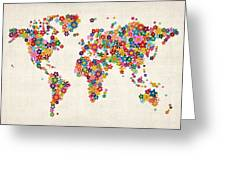 Flowers Map of the World Map Greeting Card by Michael Tompsett