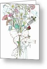Flowers With A Girl And A Bow Greeting Card by Janet Ashworth