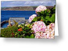 Flowers With A Sea View Greeting Card by Terri  Waters