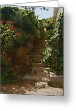 Flowery Stairway Greeting Card by Dominique Amendola