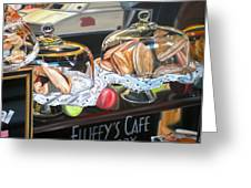 Fluffy's Cafe Greeting Card by Anthony Mezza