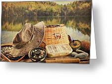 Fly Fishing Equipment  With Vintage Look Greeting Card by Sandra Cunningham