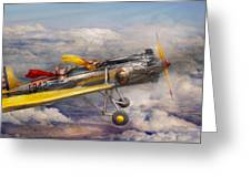 Flying Pig - Plane - The Joy Ride Greeting Card by Mike Savad