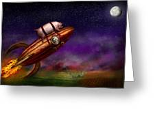Flying Pig - Rocket - To The Moon Or Bust Greeting Card by Mike Savad
