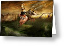 Flying Pig - Steampunk - The Flying Swine Greeting Card by Mike Savad