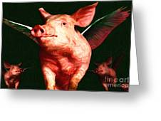 Flying Pigs v1 Greeting Card by Wingsdomain Art and Photography