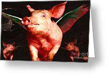 Flying Pigs V2 Greeting Card by Wingsdomain Art and Photography