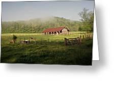 Foggy Barn Greeting Card by Marty Koch