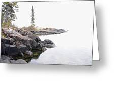 Foggy Day On Lake Superior Greeting Card by Sandra Updyke