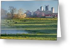 Foggy Farm Morning Greeting Card by Bill Wakeley