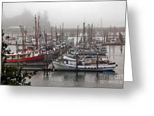 Foggy Ilwaco Port Greeting Card by Robert Bales