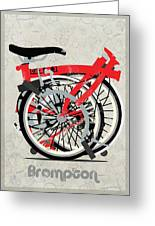 Folded Brompton Bike Greeting Card by Andy Scullion