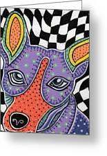 Folk Art Rat Terrier Greeting Card by Sarah  Niebank