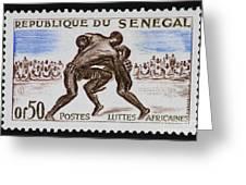 Folk Wrestling Vintage Postage Stamp Print Greeting Card by Andy Prendy