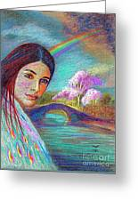 Following The Rainbow Greeting Card by Jane Small
