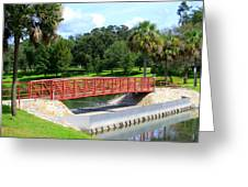Footbridge In Tuscawilla Park Greeting Card by Dorothy Menera