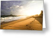 Footsteps In The Sand Greeting Card by Eti Reid