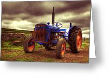 Fordson Super Dexta Tractor On Shetland Croft Greeting Card by Anne Macdonald