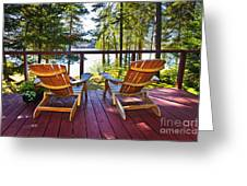 Forest Cottage Deck And Chairs Greeting Card by Elena Elisseeva