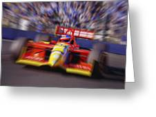 Formula Racing Car At Speed Greeting Card by Don Hammond