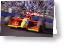 Formula Racing Car At Speed Greeting Card by Don Hammond