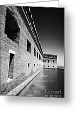 Fort Jefferson Brick Walls With Moat Dry Tortugas National Park Florida Keys Usa Greeting Card by Joe Fox