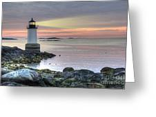 Fort Pickering Lighthouse At Sunrise Greeting Card by Juli Scalzi