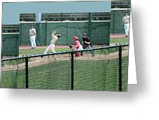 Foul Ball 3 Panel Composite Greeting Card by Thomas Woolworth