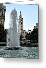 Fountain And Philadelphia City Hall Greeting Card by Bill Cannon
