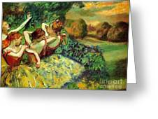 Four Dancers Greeting Card by Pg Reproductions