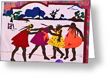 Four Little Girls Greeting Card by Ruth Yvonne Ash
