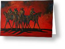 Four On The Hill Greeting Card by Lance Headlee