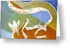 Fox Roll Greeting Card by Rebecca Bourke