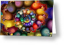 Fractal Textured Spiral Greeting Card by Peggi Wolfe
