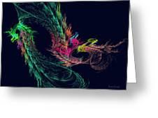 Fractal - Winged Dragon Greeting Card by Susan Savad