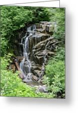 Framed Waterfalls On Mount Rainier Greeting Card by John Haldane