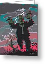 Frankenstein Creature In Storm Greeting Card by Martin Davey