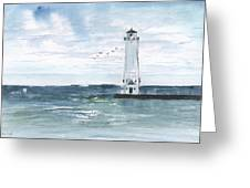Frankfort Harbor Light Greeting Card by Sean Seal
