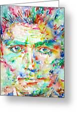 Franz Kafka Watercolor Portrait Greeting Card by Fabrizio Cassetta