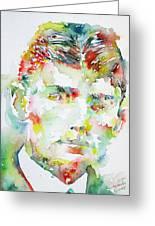 Franz Kafka Watercolor Portrait.2 Greeting Card by Fabrizio Cassetta