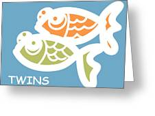 Fraternal Twins - Baby Room Art Greeting Card by Nursery Art