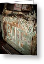 Freds Fresh Bait Greeting Card by Paul Bartoszek