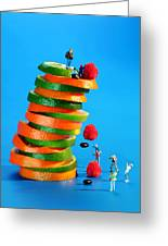 Free Falling Bodies Experiment On Fruit Tower Greeting Card by Paul Ge