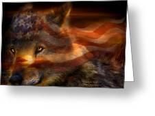 Freedom Wolf Greeting Card by Carol Cavalaris
